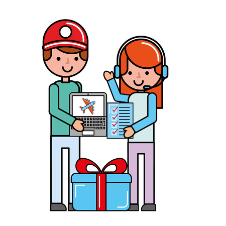 operator girl and customer man laptop check list delivery online vector illustration