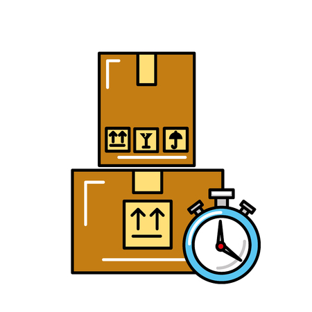 online shopping logistic clock cardboard boxes vector illustration