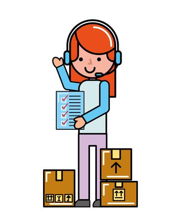 operator girl online shopping check list cardboard boxes cargo vector illustration Vettoriali