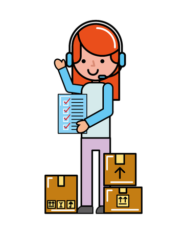 operator girl online shopping check list cardboard boxes cargo vector illustration 일러스트