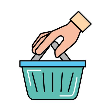 hand holding basket online shopping vector illustration Banque d'images - 109721621