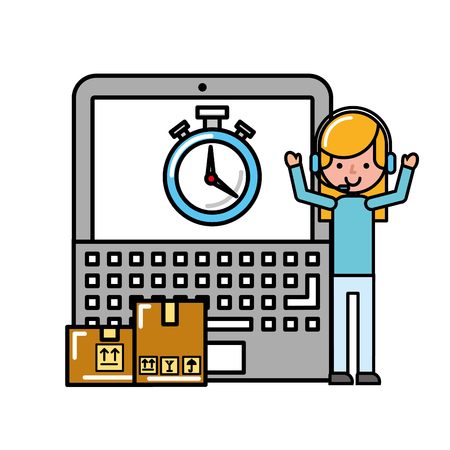 operator girl laptop time packages online shopping logistic vector illustration Illustration