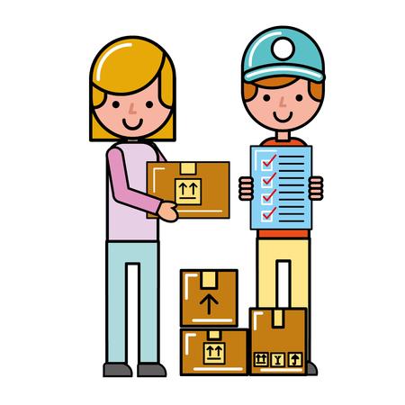 Ilustración de vector de compras en línea de cuadros de lista de verificación de operador y cliente