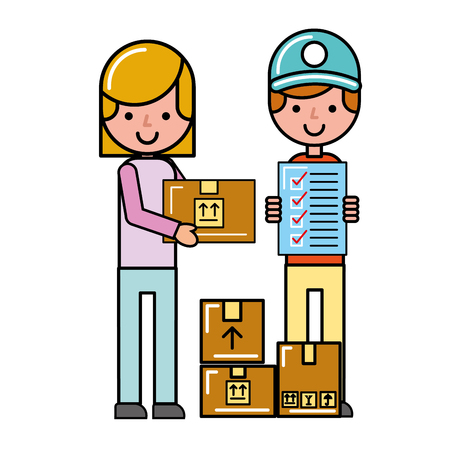 operator and customer girl check list boxes online shopping vector illustration Çizim