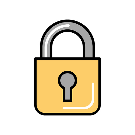 close padlock security protection symbol vector illustration