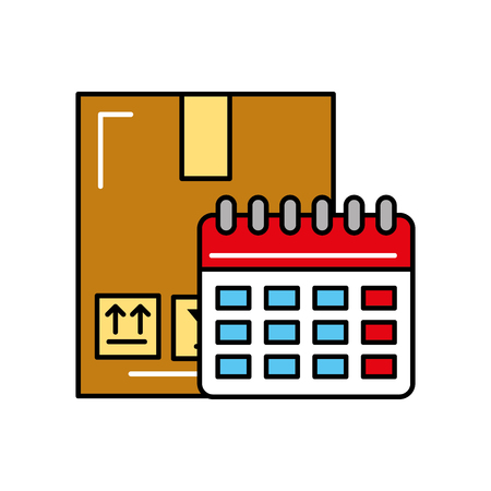 online shopping logistic cardboard box and calendar vector illustration  イラスト・ベクター素材
