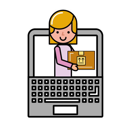 customer woman in laptop package online shopping vector illustration