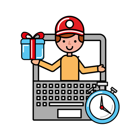 operator online shopping logistic laptop time vector illustration