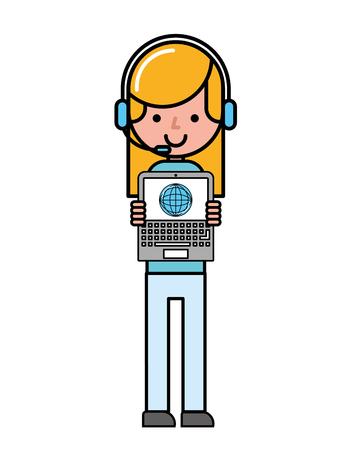 operator girl online shopping laptop world commerce vector illustration