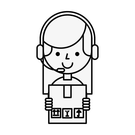 operator girl holding box online shopping vector illustration outline
