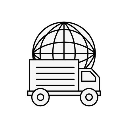 truck delivery world online shopping logistic vector illustration outline