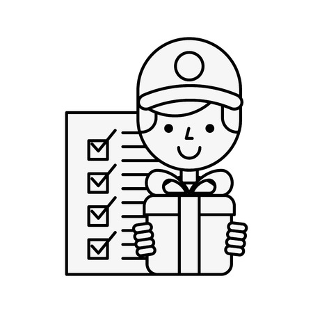 operator with gift box checklist online shopping logistic vector illustration outline