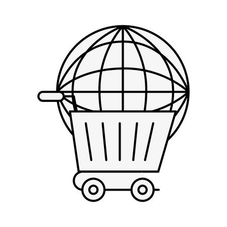 online shopping cart world logistic vector illustration outline