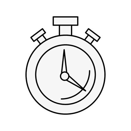 round stopwatch timer hour countdown vector illustration outline Illustration