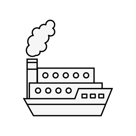 boat shipping container transport maritime vector illustration outline  イラスト・ベクター素材