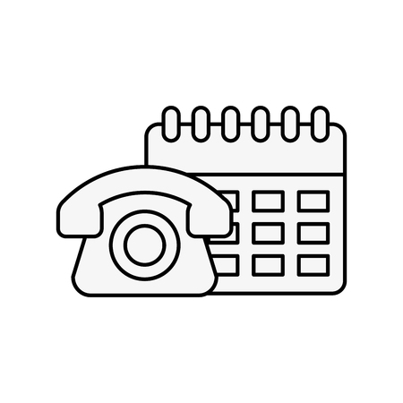 telephone calendar online shopping logistic vector illustration outline