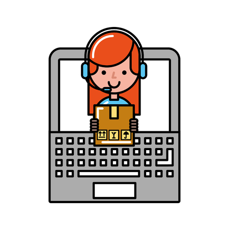 operator girl with laptop delivery box online shopping vector illustration