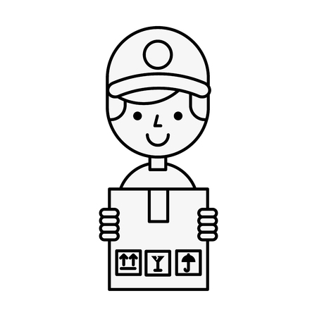 operator boy holding box online shopping vector illustration outline