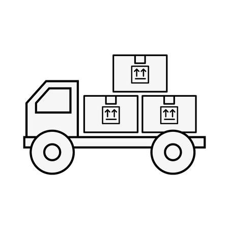 online shopping logistic truck cardboard boxes cargo vector illustration outline
