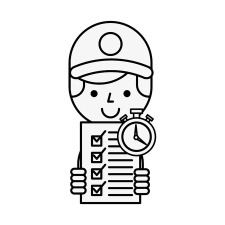 operator checklist clock online shopping logistic vector illustration outline