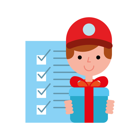 operator with gift box checklist online shopping logistic vector illustration Illustration