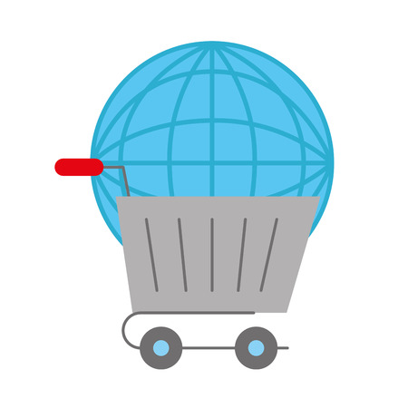 online shopping cart world logistic vector illustration  イラスト・ベクター素材