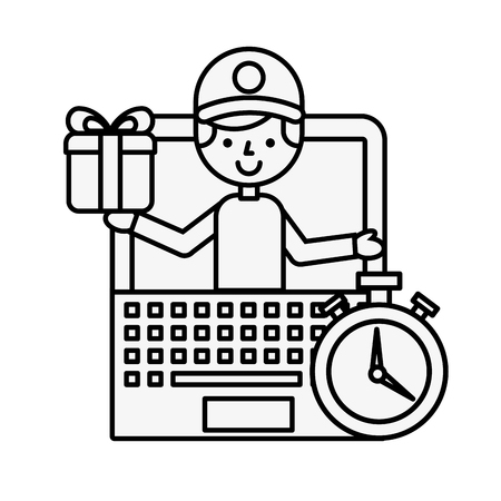 operator online shopping logistic laptop time vector illustration outline