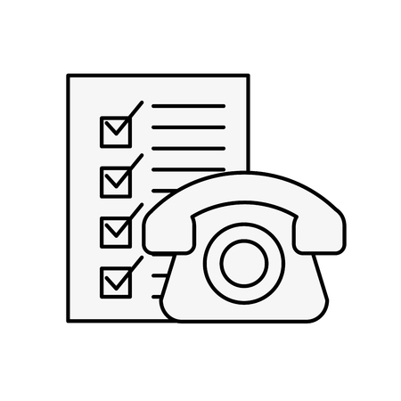 online shopping logistic telephone check list vector illustration outline