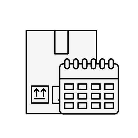 online shopping logistic cardboard box and calendar vector illustration outline