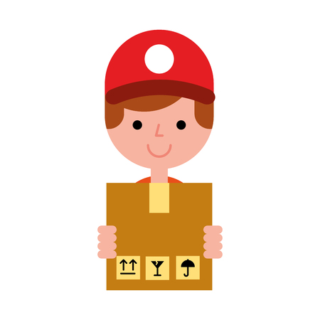 operator boy holding box online shopping vector illustration