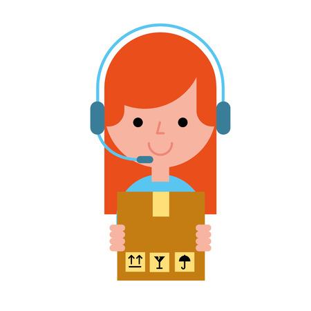 operator girl holding box online shopping vector illustration