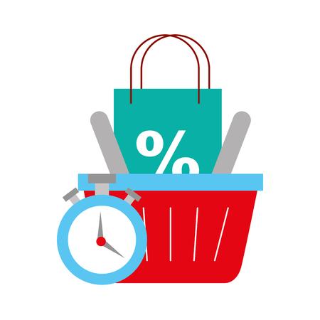 online shopping logistic clock basket bag percentage vector illustration