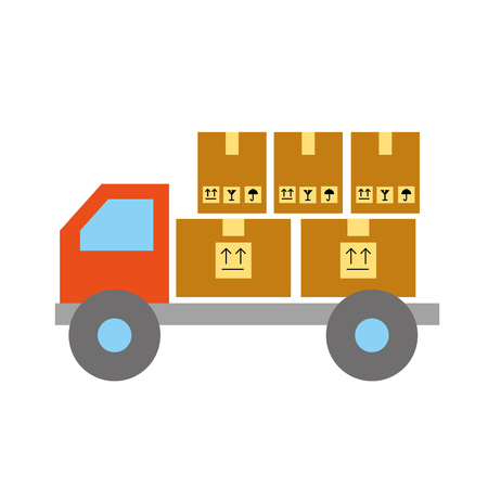 online shopping logistic truck cardboard boxes cargo vector illustration
