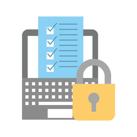 online shopping logistic laptop check list security vector illustration
