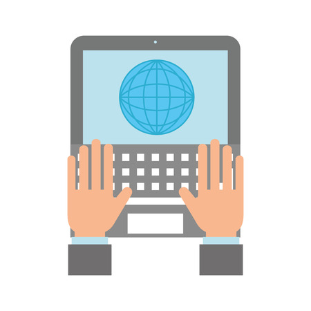 online shopping logistic hands with laptop world vector illustration