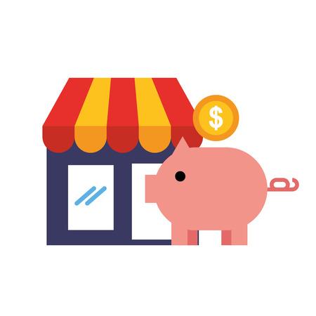 piggy bank coin money market online shopping vector illustration