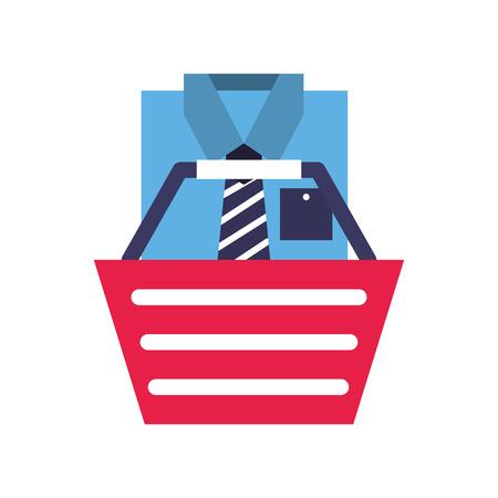 basket shirt clothes elegant online shopping vector illustration