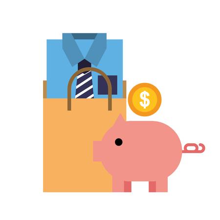 piggy bank coin bag shirt online shopping vector illustration