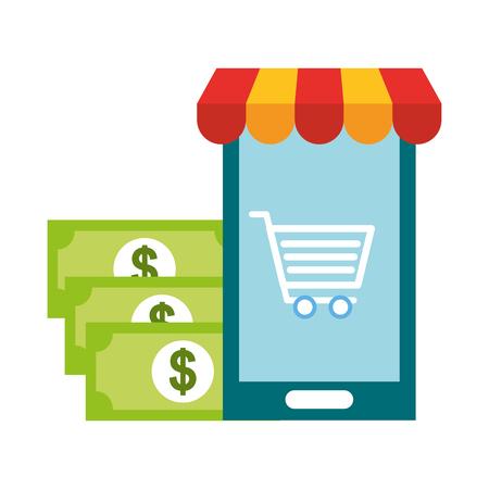 smartphone cart banknote money online shopping vector illustration
