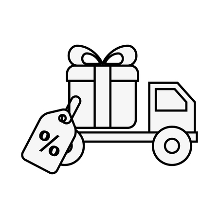 online shopping logistic truck delivery gift tag vector illustration outline