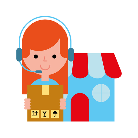 operator girl market cardboard box online shopping vector illustration Illustration