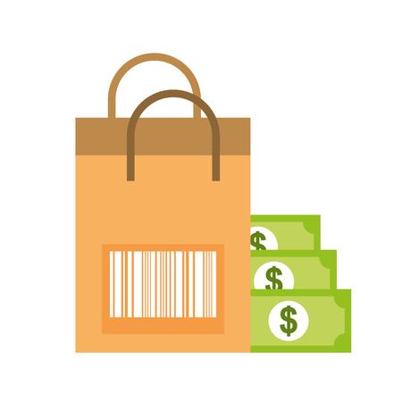 paper bag barcode banknote money online shopping vector illustration