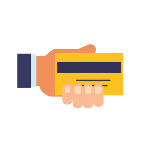 hand holding bank credit card payment vector illustration