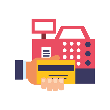 hand holding bank credit card cash register payment vector illustration