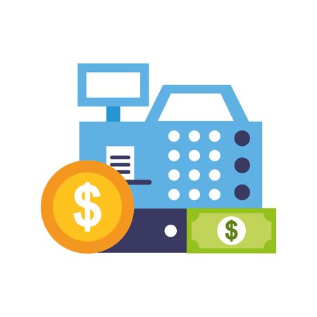 cash register coin banknote money vector illustration