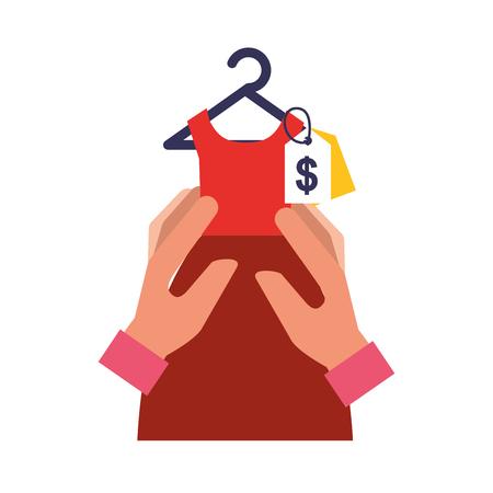 hands holding red dress tag price online shopping vector illustration Illustration