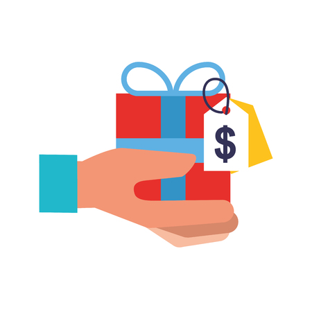 hand holding gift box tag price online shopping vector illustration