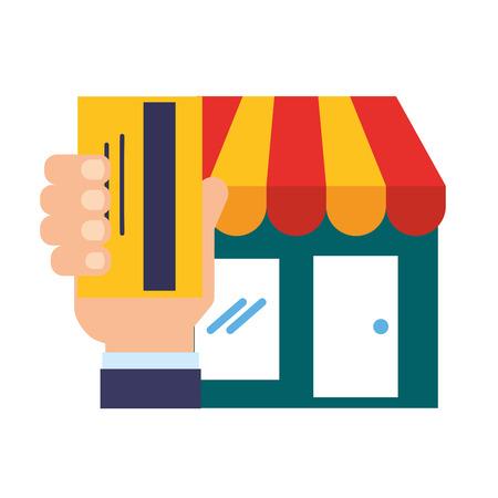 hand holding bank card market online shopping vector illustration