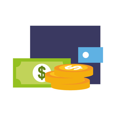wallet coins banknote money online shopping vector illustration