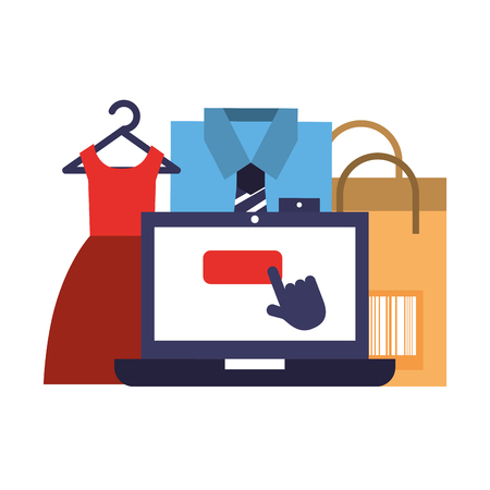 laptop clothes dress shirt bag online shopping vector illustration